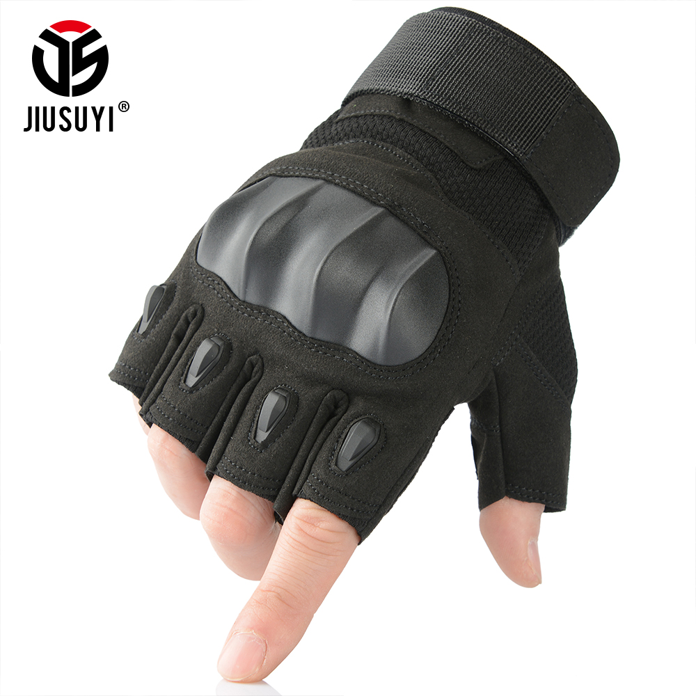 Black Tactical Military Fingerless Gloves Airsoft Shooting Combat Army SWAT Hard Knuckle Driving Half Finger Gloves Anti Slip