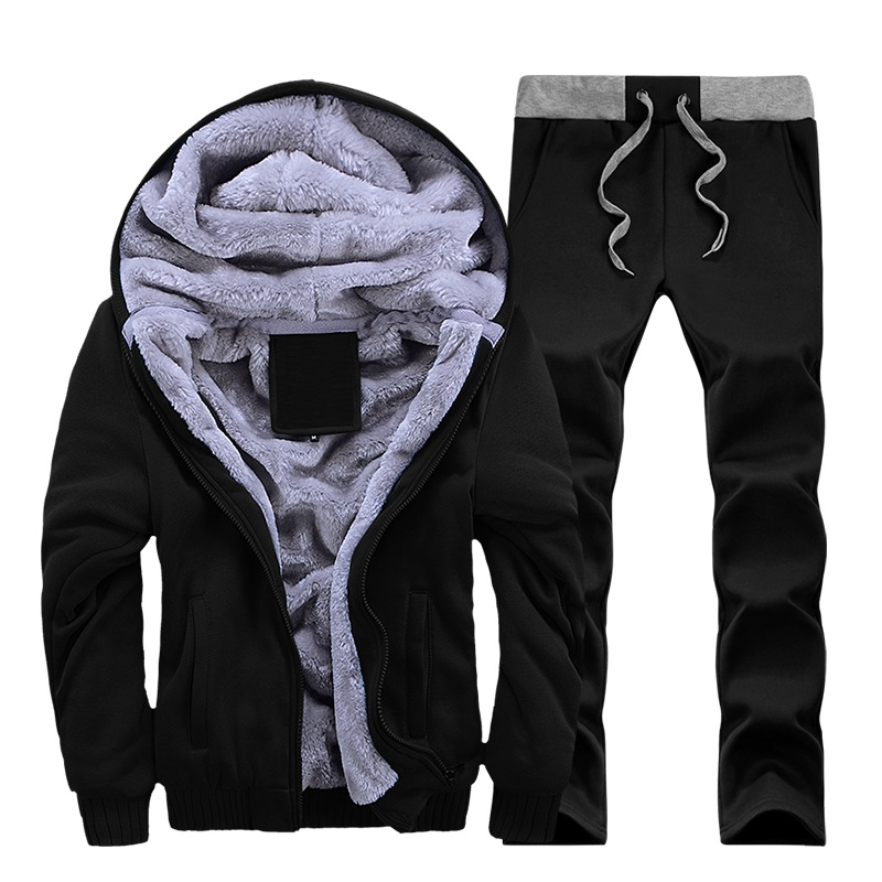 Tracksuit Men Winter Thick Inner Fleece Sets Mens Hat Casual Active Suit Men Zipper Man Outwear 2pc Jacket+pants #1