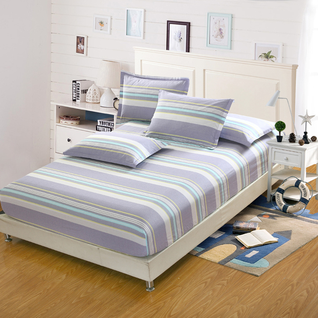 Delicieux 3Pc 100%cotton Satin Stripe Bed Fitted Sheet Mattress Cover Mattress  Protector Home Hotel Twin