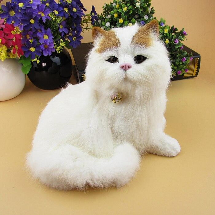 Simulation chat modèle 17x17 cm vraie fourrure cloche chat miaow son chat décoration cadeau d'anniversaire a2146