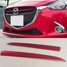Chrome Griglia Anteriore Griglia di Copertura Trim Sticker PER Mazda 2 Demio 2015 2016 2017 DJ DL Mazda2 Berlina Hatchback Accessori styling