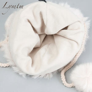Image 5 - חדש יפה דוב אוזן Skullies בימס אמיתי רקס ארנב פרווה בד סרוג כובעי חורף חם רך מוצק כובעי שלג נשים כובע