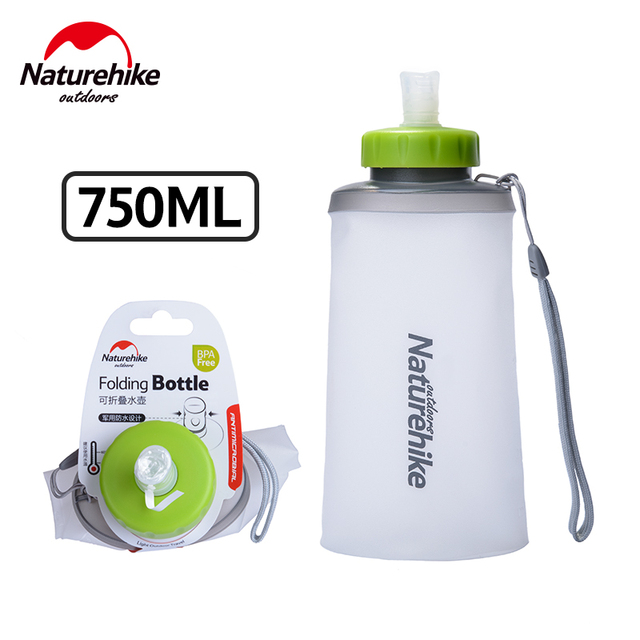 NatureHike 750ML Sport Bottle Water Bottles Outdoor Cup Portable Silicone Folding Drinkware With Straw Bicycle Water Bottle 2