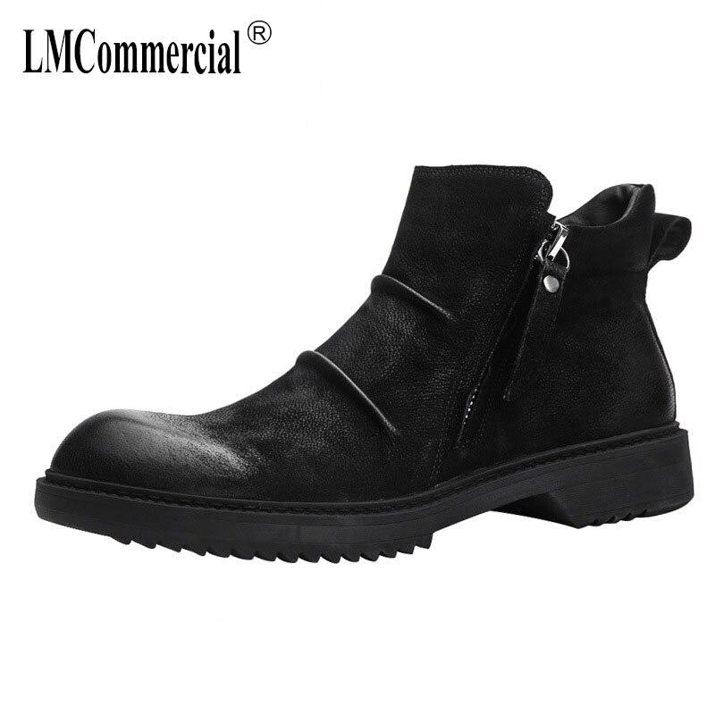 8c45ab373d Patea Casuales Todo fósforo Zapatos Del Británico Hombres Moda Velvet  Martins negro Cuero Botas Velvet Black Retro Nuevo Zurriago Otoño ...