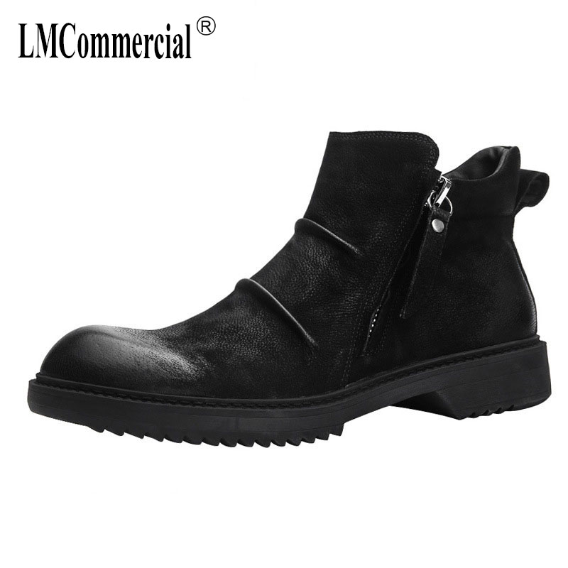 British leather Martins men's boots fashion shoes new autumn winter British retro all-match cowhide casual boots men 2017 new autumn winter british retro zipper leather shoes breathable sneaker fashion boots men casual shoes handmade