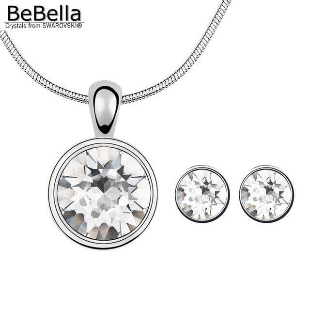 cf3dec521661 € 6.02 10% de DESCUENTO BeBella colgante de piedra redonda collar  pendientes con cristales austriacos de Swarovski para 2018 niñas regalo de  ...