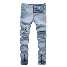 Hip hop jeans summer new mens fashion style clothing design Europe and the United States trend  hole