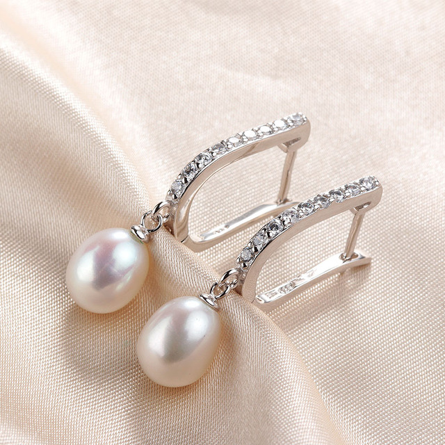 Lindo Hot Selling 925 Sterling Silver Drop Earrings Women 8-9mm Natural Freshwater Pearl Jewelry Top Quality Earrings With Box