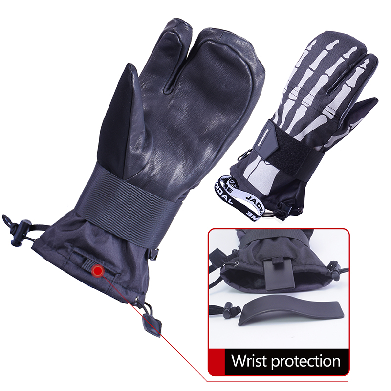 Jackcome Snowboard Skiing Keep Warm Waterproof Windproof Wrist Protective Out Sports Leather Fashion Mittens Snowmobile Gloves