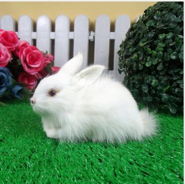 WYZHY Simulation Bunny White Rabbit Featured High-end Fur Childrens Birthday Gifts Craft  15CMx9CMx8CM