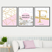 Believe Oneself Wall Art Poster Marble Home Decoration Posters And Prints Pink Gold Geometric Canvas Painting