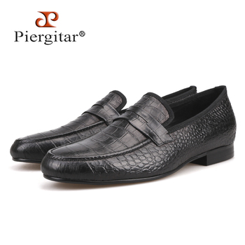 Crocodile embossed Genuine Leather Men's shoes Party and wedding Men Loafers