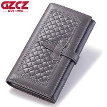 Купить с кэшбэком GZCZ New Wallet Brand Coin Purse Genuine Leather Women Wallets Purse Walet Female Card Holder Long Lady Clutch Carteira Feminina