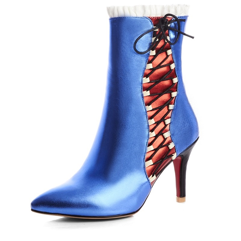 ФОТО Pointed Toe Thin Heels 8.5 cm Ladies shoes woman comfortable Rubber Grain Leather woman wedding shoes red bottom sole high heels
