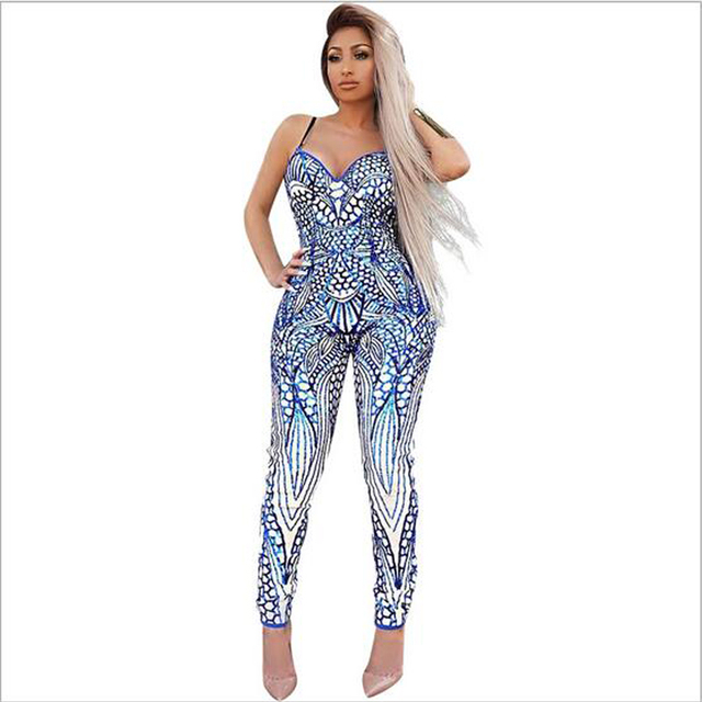 f948b05475f4 2017 Summer Print Jumpsuit Romper Women Spaghetti Strap Sexy Party Bodycon Overalls  Casual Fashion Long Pants
