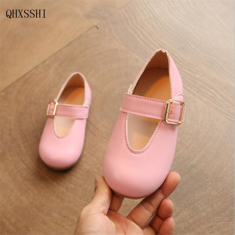 QGXSSHI 2017 Spring Summer Child Girls Sandals Kids Girls Leather Shoes Princess Girls Shoes Kids Leather Flats