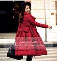 2016 Real Calidad Ucrania Nuevo Abrigo de Invierno Chaqueta de Las Mujeres Una rodilla Moda Falda Larga Femenina Gruesa Mujer de Down Parkas Manteau Femme