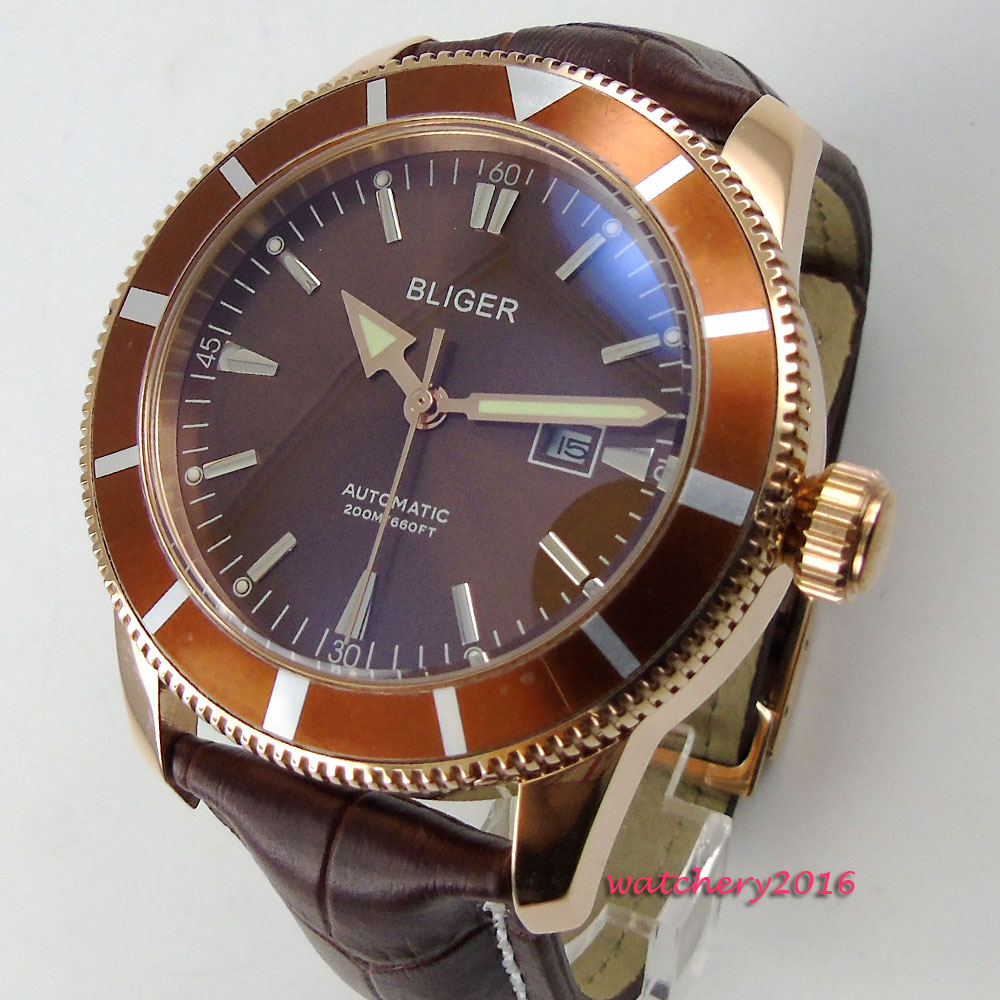 NEW 46mm Bliger Brown Dial Rose Golden Case Leather strap Rotating Bezel Calendar Luxury Brand Automatic Movement men's Watch цена и фото
