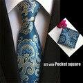Men's fashion tie pocket square cravat handkerchief men neckties business dress polyester silk tie set T029