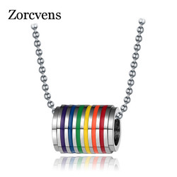 ZORCVENS Fashion Multicolor Gay Pride Jewelry Stainless Steel Rainbow Pendant Necklace Charm Jewelry for Women