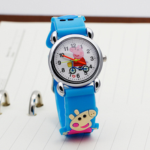 ot01 High Quality Blue Boy Black Watch Girl Kids Children's Gift Fabric Strap Learn Time Tutor Student Wristwatch