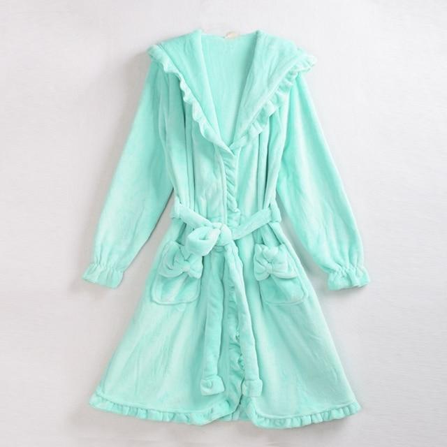 Sweet Ladies Solid Color Coral Fleece Hooded Bathrobes Winter Warm Soft Flower Ruffles Sleeperobes Loungewear