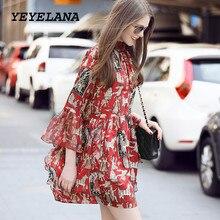 YEYELANA Women Desses 2018 Spring Summer Chiffon Casual Dress Loose Flare Sleeve Print Vintage Party Dress Women Clothing A032