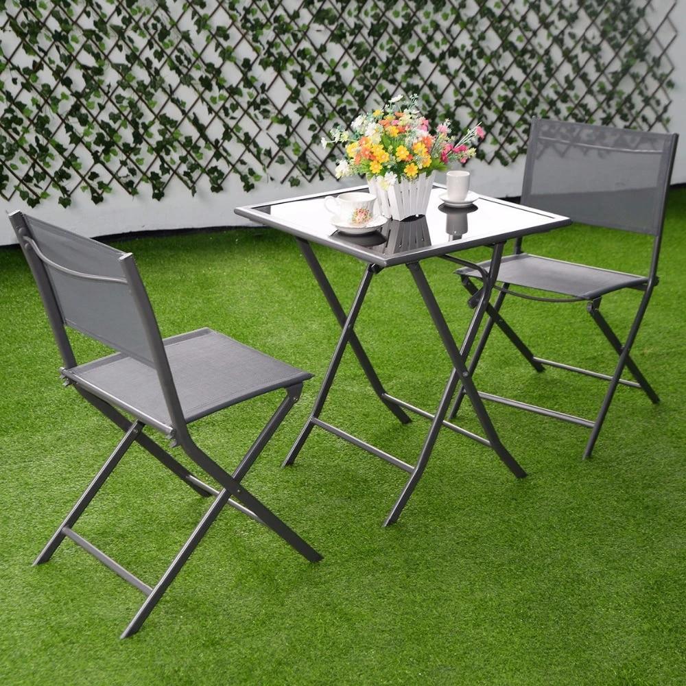 3 Pcs Bistro Set Garden Backyard Table Chairs Outdoor Patio Furniture Folding Hw51582 Patio Furniture Outdoor Patio Furniturebistro Set Aliexpress