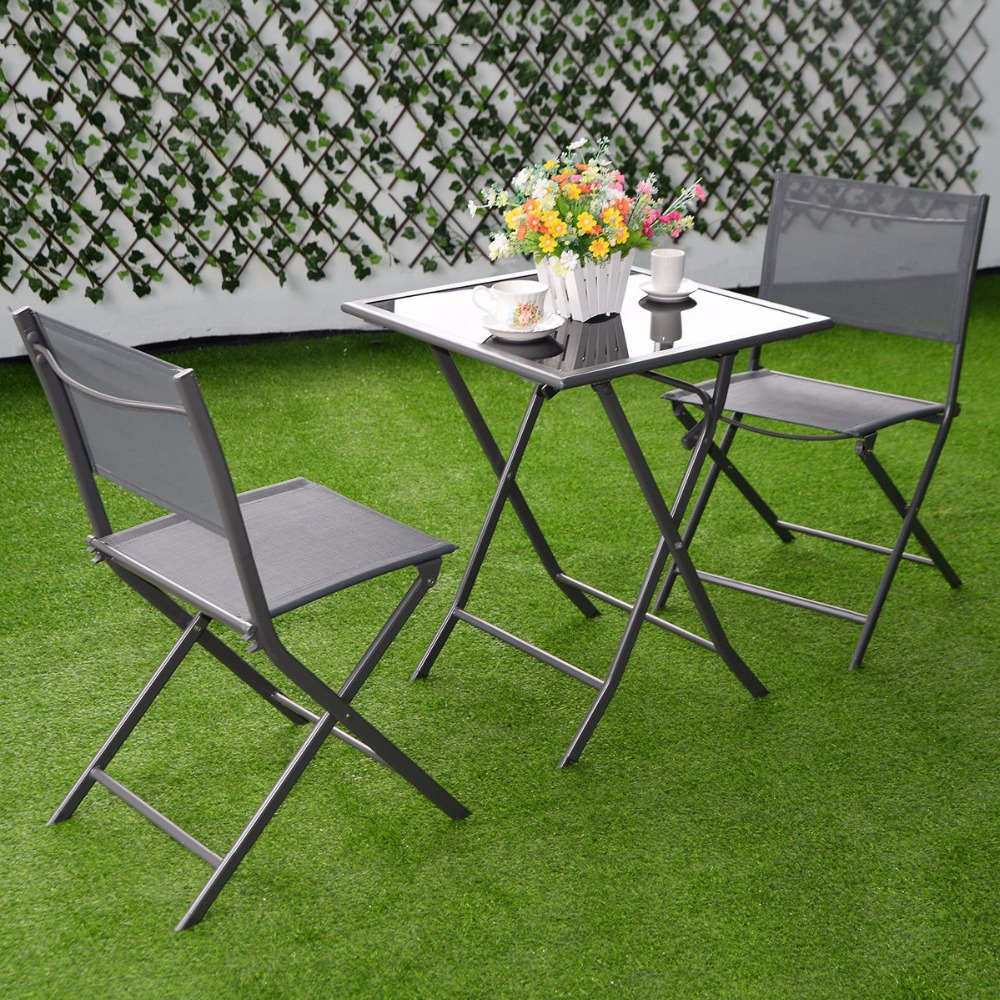 Charming Cheap Garden Table And Chairs Part - 4: 3 Pcs Bistro Set Garden Backyard Table Chairs Outdoor Patio Furniture  Folding HW51582