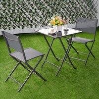 3 Pcs Bistro Set Garden Backyard Table Chairs Outdoor Patio Furniture Folding HW51582