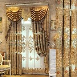 Zasłony do salonu Chenille dostosowanie europejskiej żakardowe Hollow haft zasłony do sypialni tkanina Valance