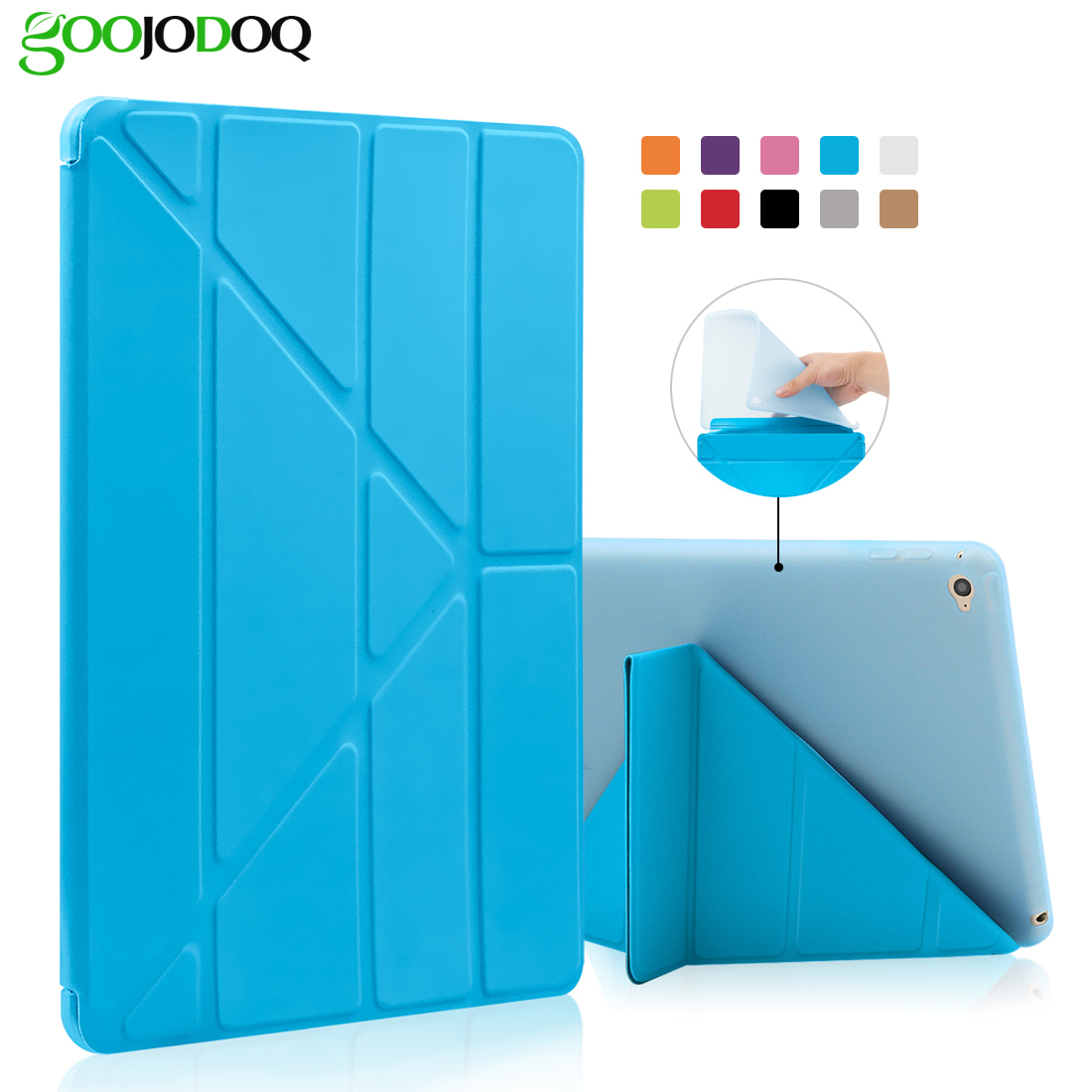 For iPad Pro 9.7 Case,Smart Cover with Silicone TPU Soft Back Multi-Fold Stand Tablets Case for iPad Pro 9.7 inch 2016 Coque case for ipad pro 12 9 inch esr pu leather tri fold stand smart cover case with translucent back for ipad pro 12 9 2015 release