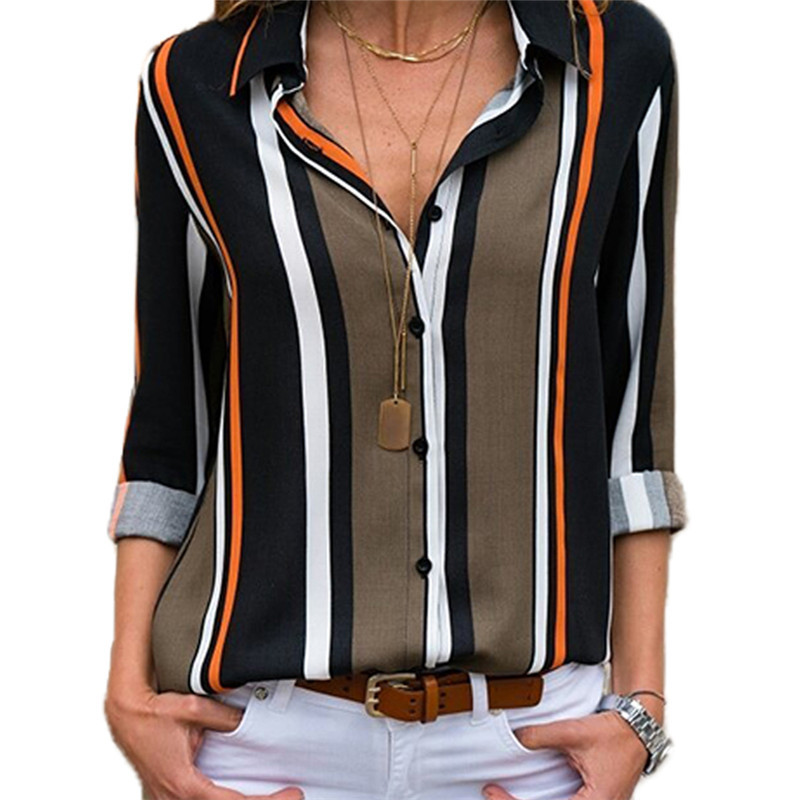 Tamaño Cuello De Las Black Rayas Camisa Red La V Manga Contraste black White 2019 Tops Blusa Color white Con army En Larga Primavera Green Mujeres Casual Gasa Red Otoño Plus EXOxqx1nw