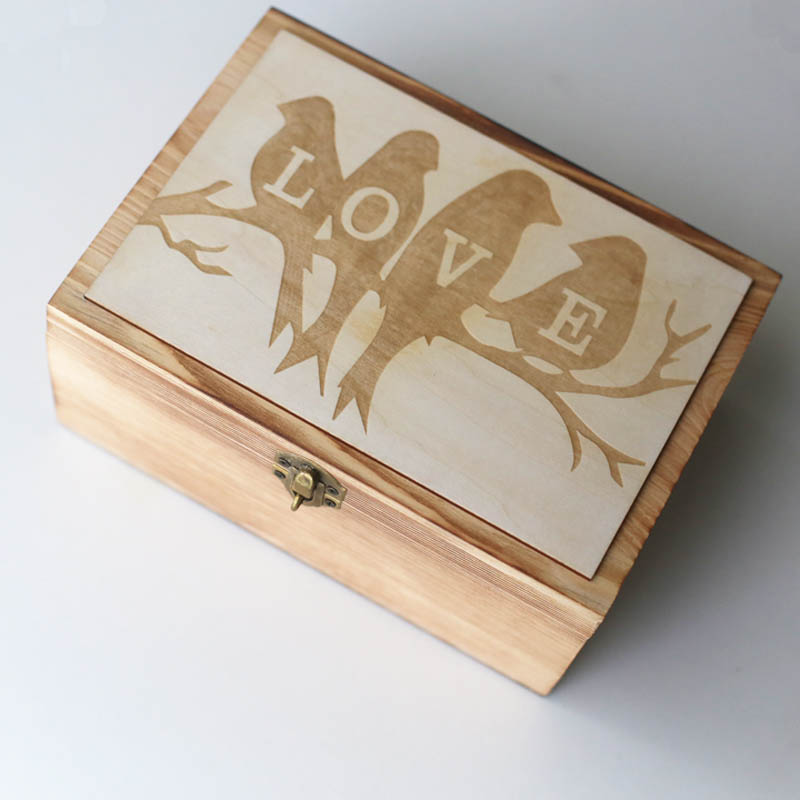 Love Birds Wedding Guest Book Custom Love Wedding Box Personalized Wooden Keepsake Box Memorable Anniversary Birthday Gift In Party Favors From
