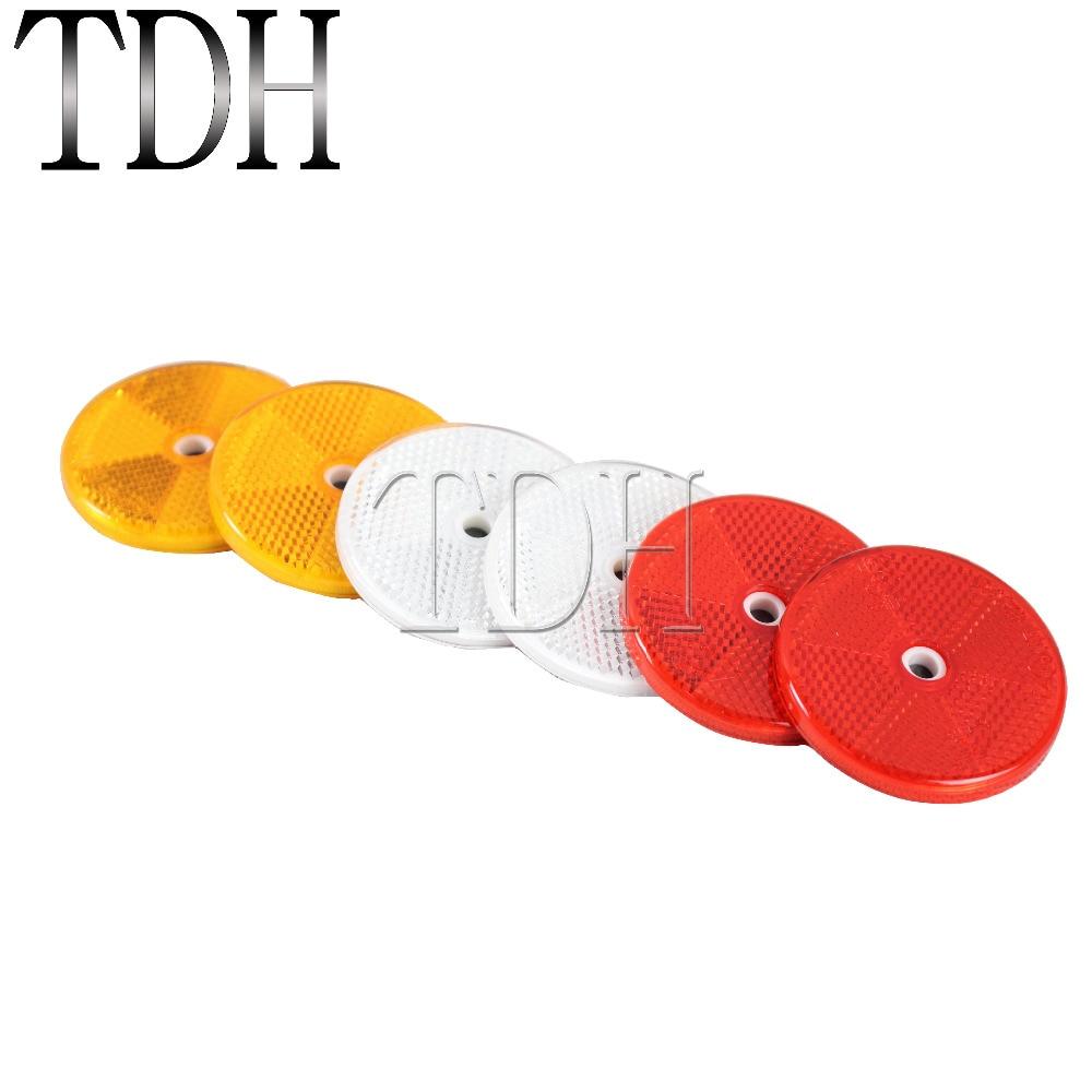60 мм красные, белые, желтые самоклеящиеся отражатели, универсальные для большинства мотоциклов, квадроциклов, внедорожников