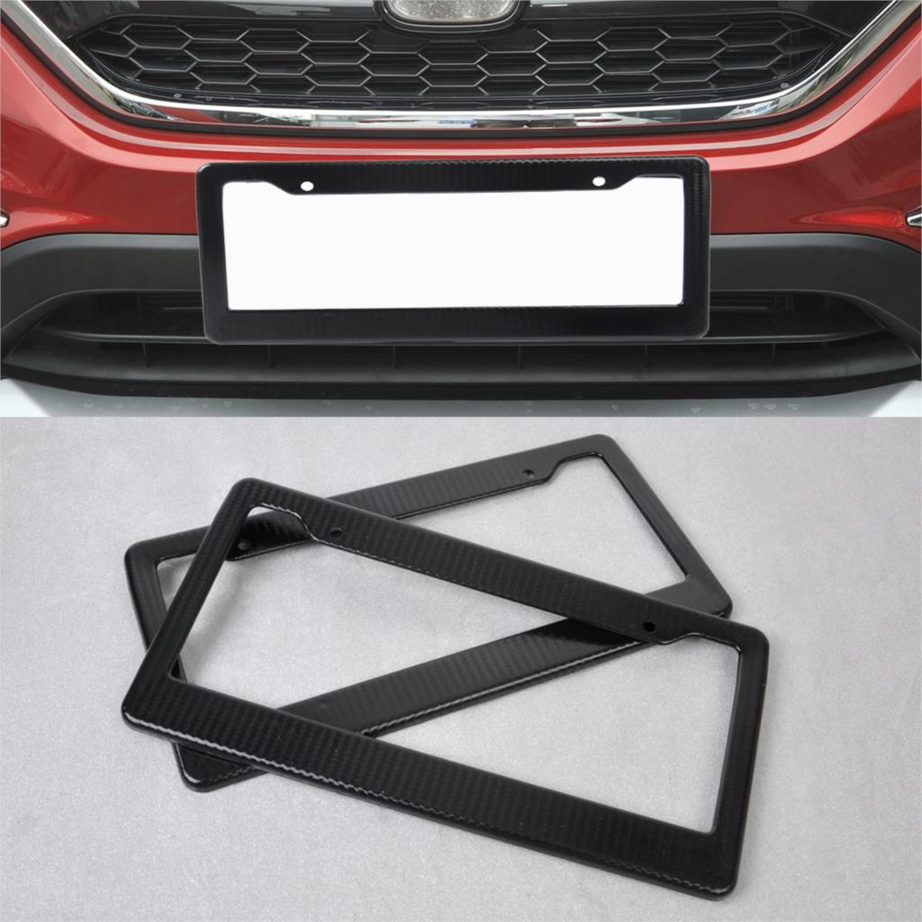 2pcs universal jdm front rear carbon fiber look usa canada license plate frame tag cover holder