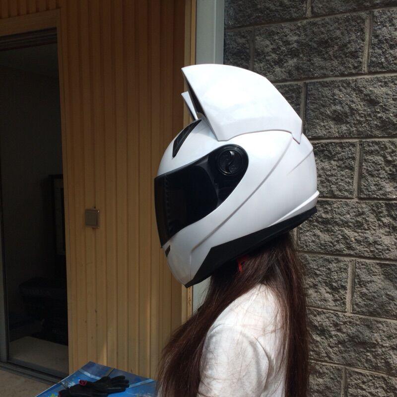 Lovely cat ears motorcycle helmet racing anti fog personality design full face helmet capacete moto casco