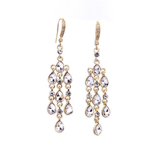 Lady Chandelier Earrings 24kt Gold Jewelry Evening Party Water