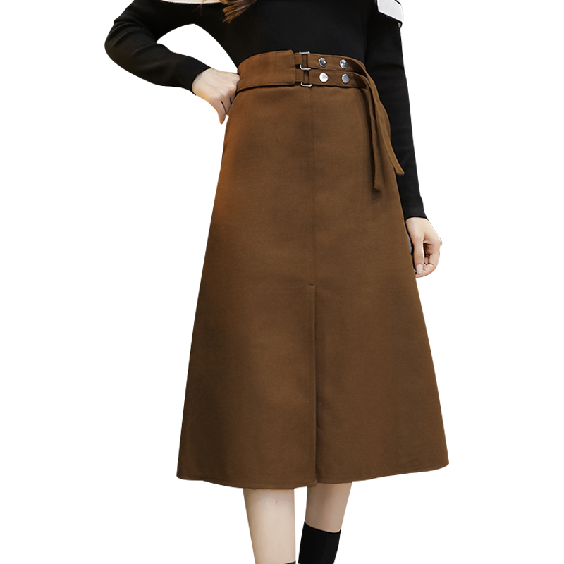 2018 New High Waist Elegant Skirt Black  Long Skirts Female Fashion Loose Plus Sizes Woolen Straight Skirt Mid-calf Skirt Women