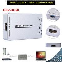 HDV-UH60 Full HD 1080 P Małe Urządzenie Przechwytujące USB HDMI 3.0 Urządzenie Karta Przechwytywania wideo Audio Dongle Adapter UAC Win UVC Linux