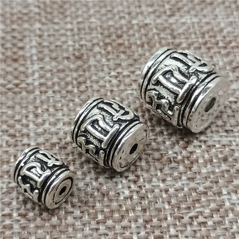 Omh Beads Meditation Beads 5 Sterling Silver Om Beads Om mani padme hum 925 Silver Yoga Beads