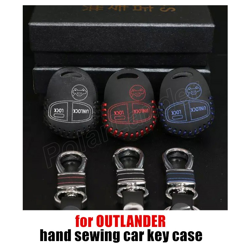 Only Red hot sale car styling genuine quality leather car key case cover sewing hand fit for for MITSUBISHI OUTLANDER