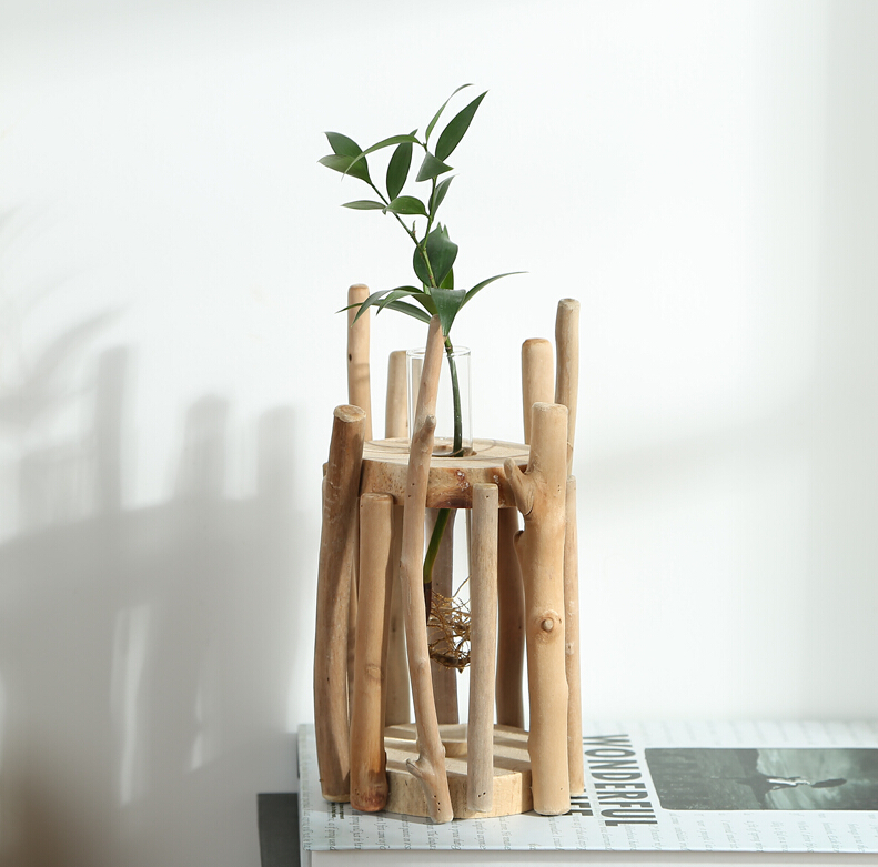 Aliexpress Com Buy Home Decor European Style Unique Wood Vase 100 Handmade Natural Artwork Glass Tube