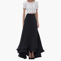2016 Graceful Black Long Women Skirts For Evening Party High Quality Satin Tiered Floor Length Skirts Custom Made