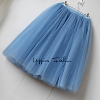 Summer Style 7 Layers Maxi Long Tulle Skirt High Waisted Midi Skirts Womens Adult Tutu Pleated