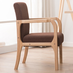 Image 3 - Luxe 100% hout moderne Vrijetijdsbesteding stoel met fauteuil hout eetkamerstoel Nordic retro sofa PU Lederen sofa Woonkamer Meubels