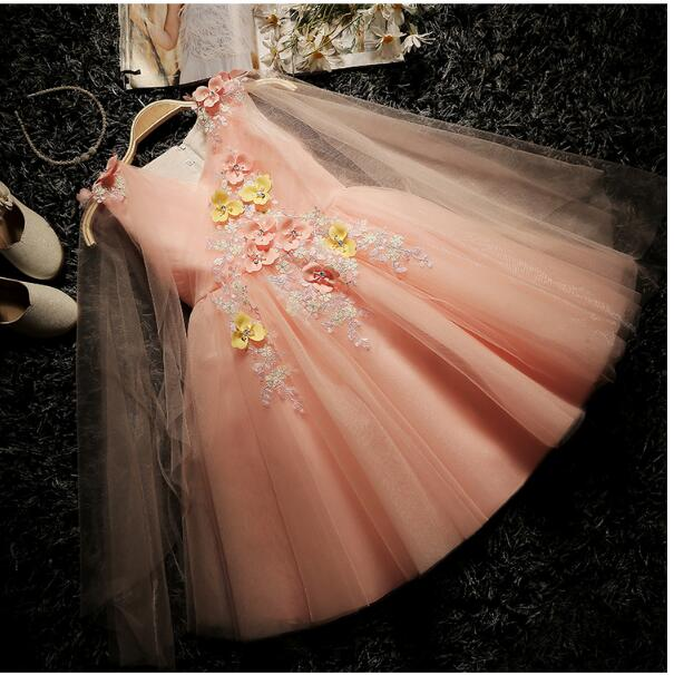 Girl's Formal Dress 2018 Flower Wedding Dresses Kids Gauze Birthday Evening Party Ball Gown Children's Princess Dress Pink 2-13Y