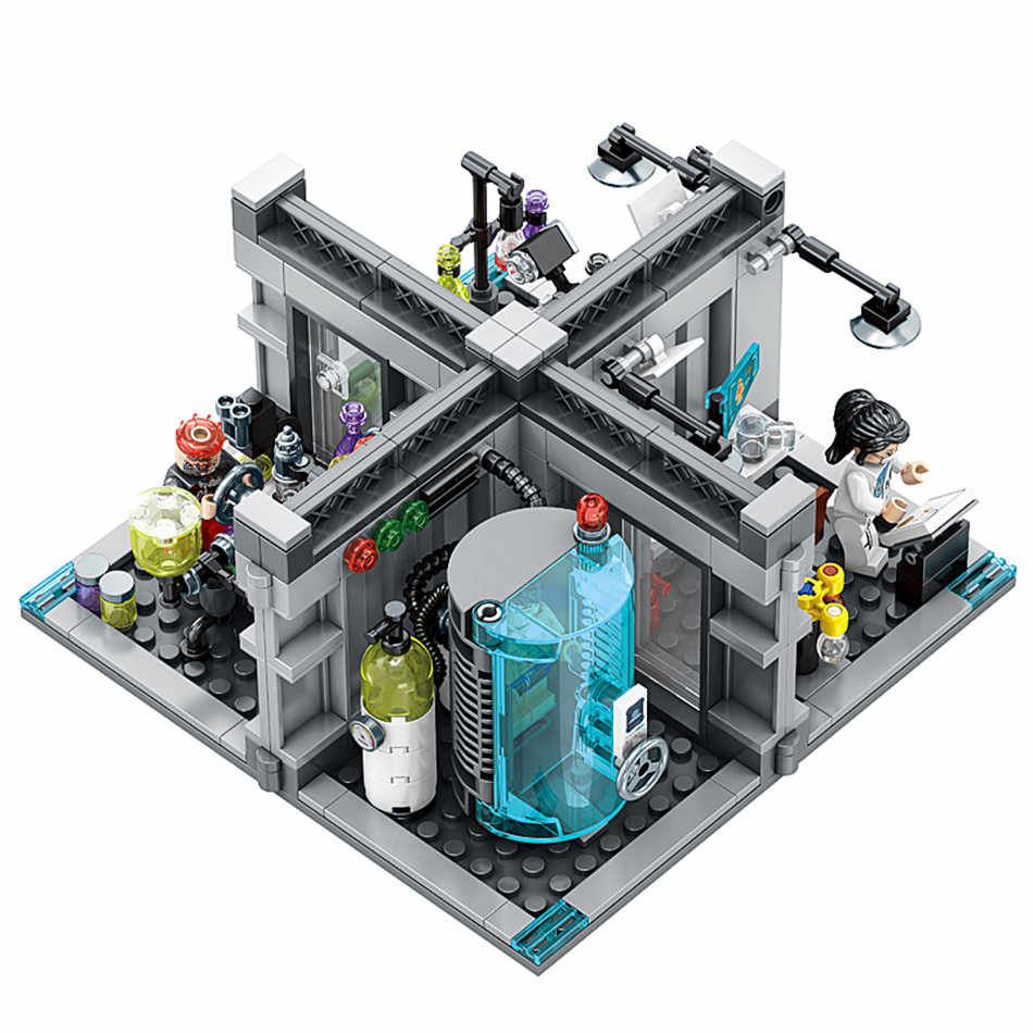 Kids Love City Police Biochemical Lab Series Model Building Blocks Technic Classic Figures Enlighten Bricks Toys
