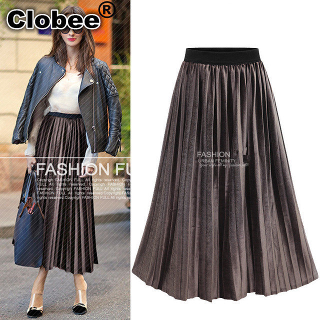 d930b6ff11ea9 Ethnic XXXL 4XL 5XL Plus Size Women Long Skirts 2018 Spring Summer Velvet  Elastic High Waist Social Jump Loose Pleated Skirt