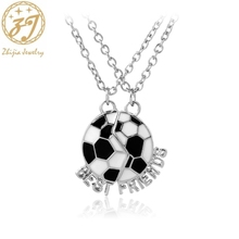 Zhijia Football Best Friends Necklaces For 2 Bestfriend BFF Necklace Black and white Cute Friendship Gift Children Jewelry